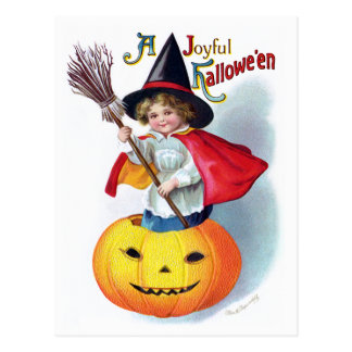 Ellen H. Clapsaddle: Little Pumpkin Witch Postcard