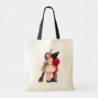 Ellen H. Clapsaddle: Little Witch with Cat Budget Tote Bag