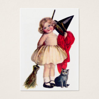 Ellen H. Clapsaddle: Little Witch with Cat Business Card