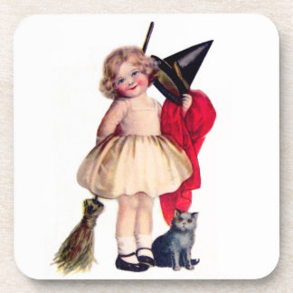 Ellen H. Clapsaddle: Little Witch with Cat Drink Coaster