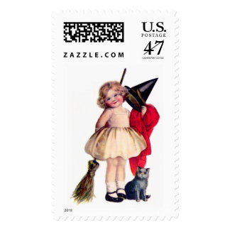 Ellen H. Clapsaddle: Little Witch with Cat Postage