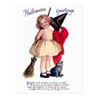 Ellen H. Clapsaddle: Little Witch with Cat Postcard