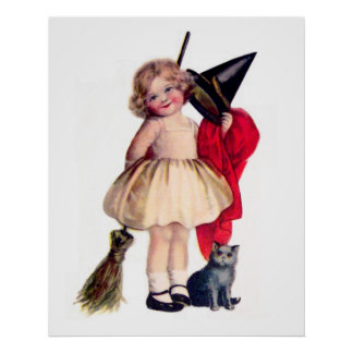 Ellen H. Clapsaddle: Little Witch with Cat Poster