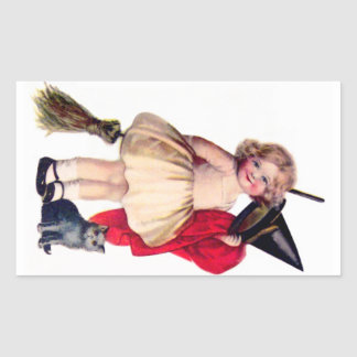 Ellen H. Clapsaddle: Little Witch with Cat Rectangular Sticker