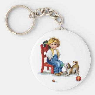 Ellen H. Clapsaddle: Muchacho con el perro Llavero Redondo Tipo Pin