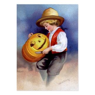 Ellen H. Clapsaddle: Muchacho con Jack O'Lantern 2 Tarjetas De Visita Grandes