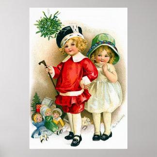 Ellen H. Clapsaddle: Muchacho y chica con los jugu Póster