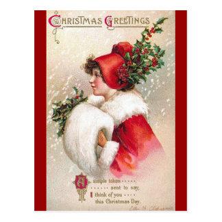Ellen H. Clapsaddle - mujer del navidad en rojo Postal