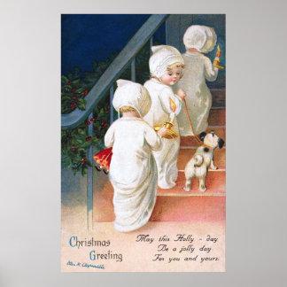 Ellen H. Clapsaddle: Niñas pequeñas del navidad Impresiones