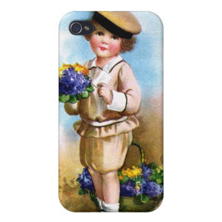 Ellen H. Clapsaddle: Niño con nomeolvides iPhone 4 Protectores
