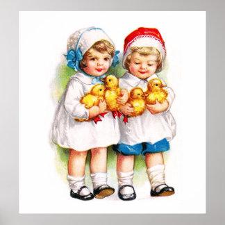 Ellen H Clapsaddle Niños con los anadones Posters