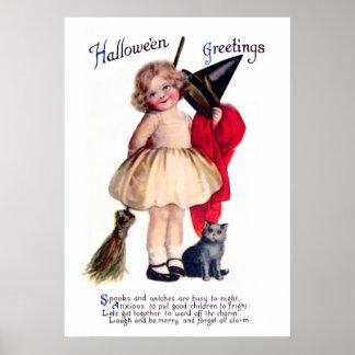 Ellen H. Clapsaddle: Pequeña bruja con el gato Poster