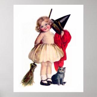 Ellen H. Clapsaddle: Pequeña bruja con el gato Póster