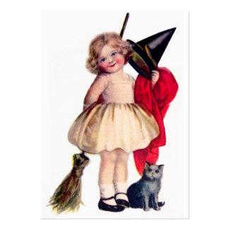 Ellen H. Clapsaddle: Pequeña bruja con el gato Tarjetas De Visita Grandes