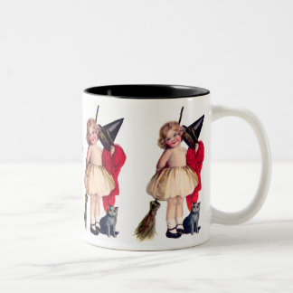 Ellen H. Clapsaddle: Pequeña bruja con el gato Tazas De Café