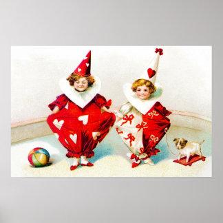 Ellen H. Clapsaddle Pierrot Children Valentine Poster