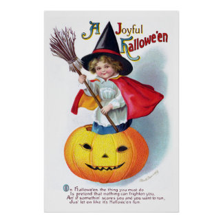 Ellen H. Clapsaddle: Poca bruja de la calabaza Poster