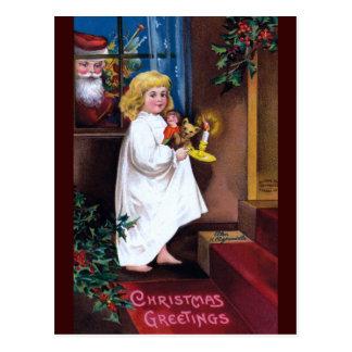 Ellen H. Clapsaddle: Santa Looking through Window Postcard