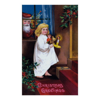 Ellen H. Clapsaddle: Santa que mira a través de ve Impresiones