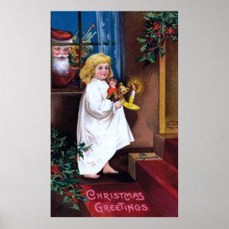 Ellen H. Clapsaddle: Santa que mira a través de ve Póster