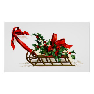 Ellen H. Clapsaddle: Sledge with Holly Poster