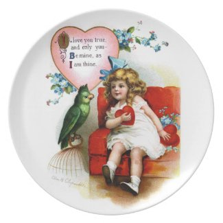 Ellen H. Clapsaddle: Valentine Girl with Parrot