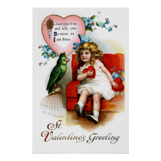 Ellen H. Clapsaddle: Valentine Girl with Parrot Posters