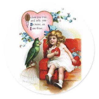 Ellen H. Clapsaddle: Valentine Girl with Parrot