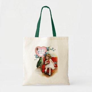 Ellen H. Clapsaddle: Valentine Girl with Parrot Tote Bag