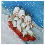 Ellen H. Clapsaddle: Winter Kids on Sledge Cloth Napkin