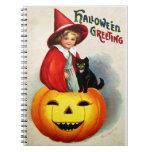 Ellen H. Clapsaddle: Witch in Jack O'Lantern Spiral Notebooks
