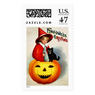Ellen H. Clapsaddle: Witch in Jack O'Lantern Postage
