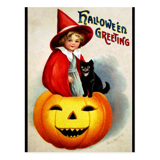Ellen H. Clapsaddle: Witch in Jack O'Lantern Post Cards