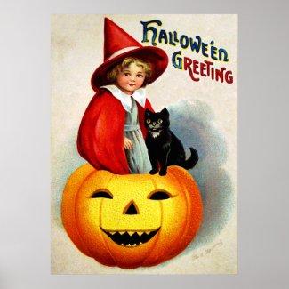 Ellen H. Clapsaddle: Witch in Jack O`Lantern