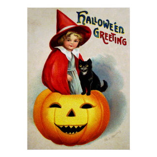 Ellen H. Clapsaddle: Witch in Jack O'Lantern Poster