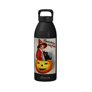 Ellen H. Clapsaddle: Witch in Jack O'Lantern Water Bottle