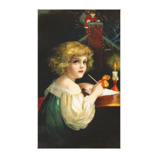 Ellen H. Clapsaddle - Writing Christmas Girl Stretched Canvas Print