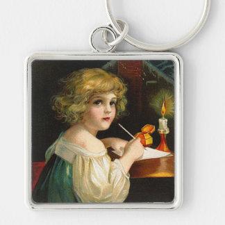 Ellen H. Clapsaddle - Writing Christmas Girl Keychain