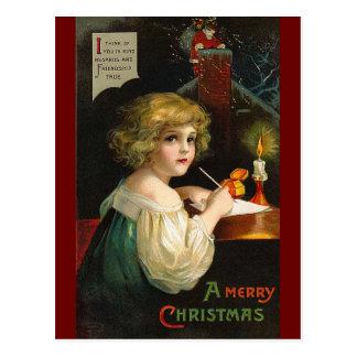 Ellen H. Clapsaddle - Writing Christmas Girl Postcard