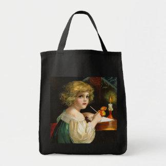 Ellen H. Clapsaddle - Writing Christmas Girl Tote Bag