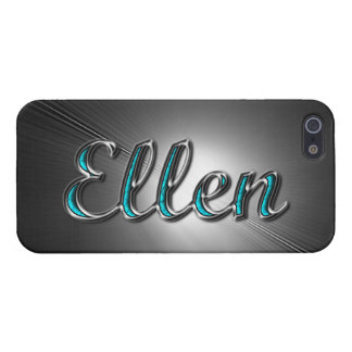 Ellen name in Turquoise and Silver Printed Cover For iPhone 5