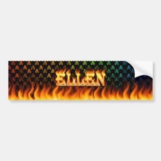 Ellen real fire and flames bumper sticker design.