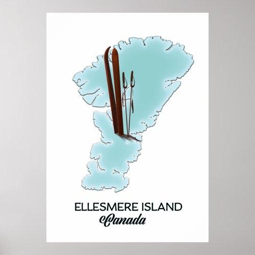 Ellesmere island Canada map poster
