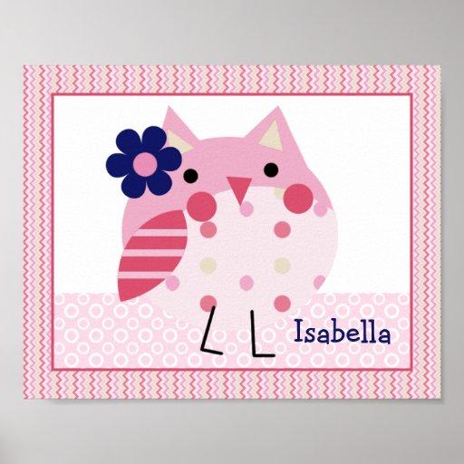 Ellie/Ella Pink Owl Elephant Nursery Art Poster