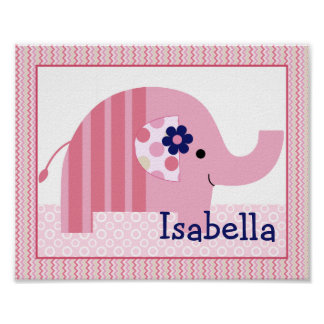 Ellie/Ella Pink Striped Elephant Nursery Art Poster