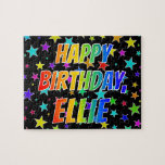 "[ Thumbnail: ""Ellie"" First Name, Fun ""Happy Birthday"" Jigsaw Puzzle ]"