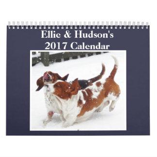 Ellie y calendario lindo 2017 del Hudson Basset