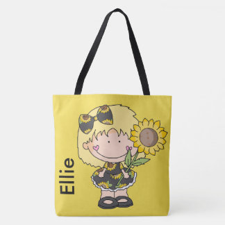 Ellie's Personalized Sunflower Tote Bag
