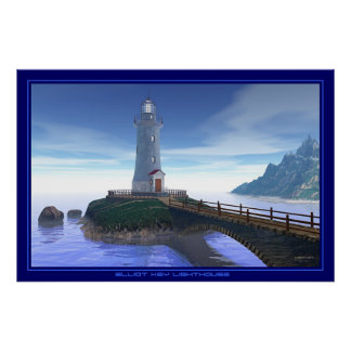 Elliot Key Lighthouse - Caribbean Blue Poster
