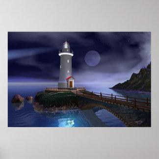 Elliot Key Lighthouse - Full Moon Poster